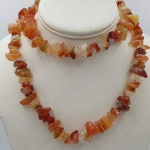 Gorgeous Carnelian Crystal Stone Chip Necklace